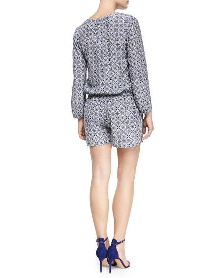 Rialto Printed Long-Sleeve Jumpsuit