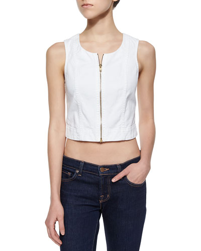 Front-Zip Denim Tank, Runway White