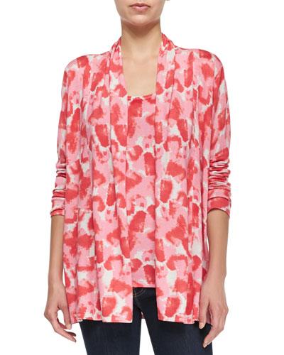 Painted Petals Open Cashmere Cardigan