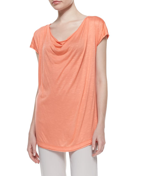 Neiman MarcusCowl-Neck Short-Sleeve Tee, Coral