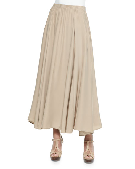 Neiman Marcus Pull-On Maxi Skirt, Tan