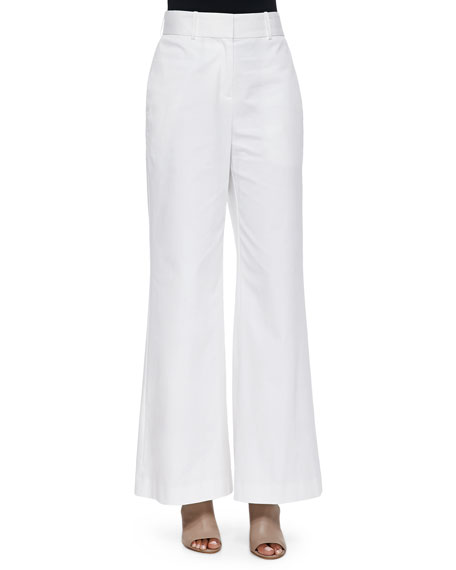 Lafayette 148 New York High-Waist Wide-Leg Pants, White