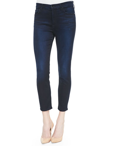 High-Rise Cropped Skinny Jeans, Blue/Black