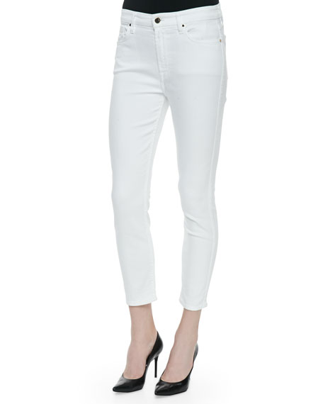 JEN7 High-Rise Cropped Skinny Jeans, White