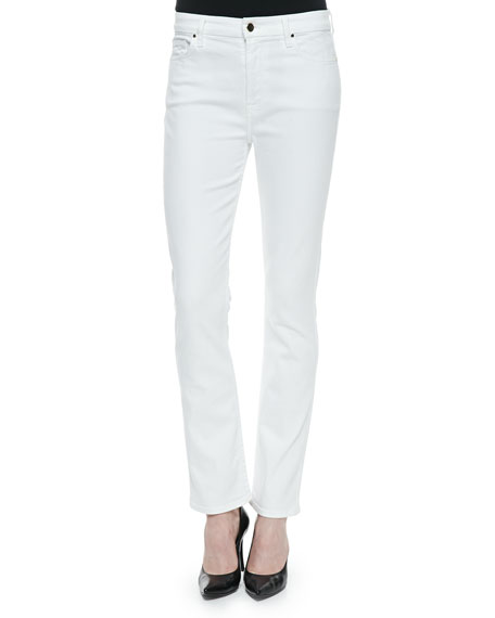 JEN7 High-Rise Slim Straight Jeans, White