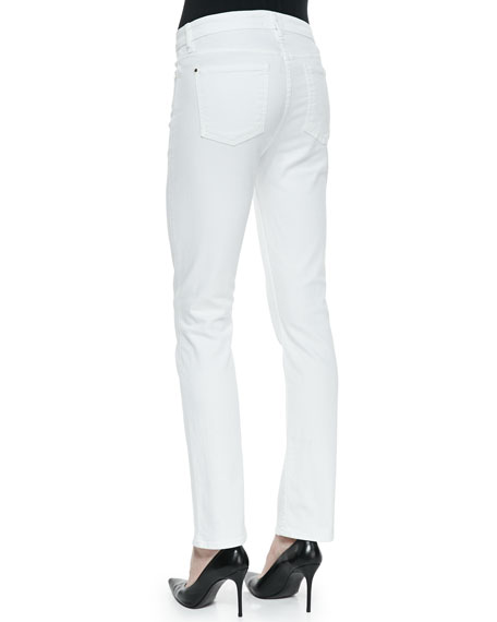 High-Rise Slim Straight Jeans, White