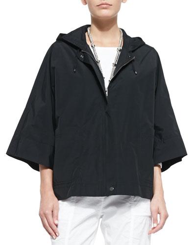 Weather-Resistant Hooded Boxy Zip Jacket