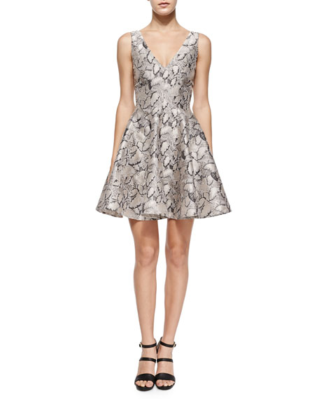 Opening Ceremony Leaf-Print Flared Jacquard Dress