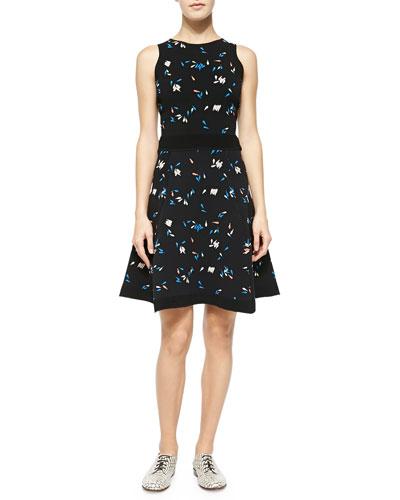 Tonal-Trim Printed Jacquard Dress