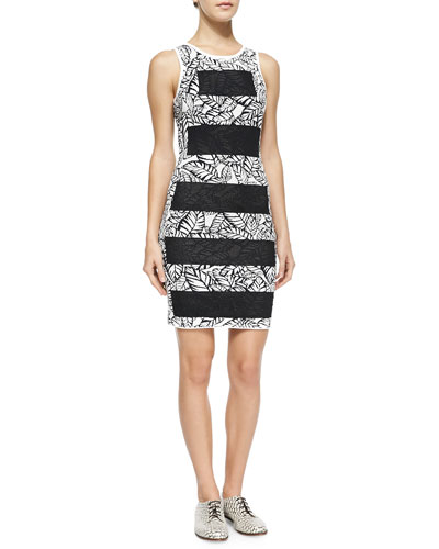 Striped/Floral-Print Fitted Dress