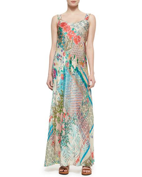 Patch-Print Silk Maxi Dress