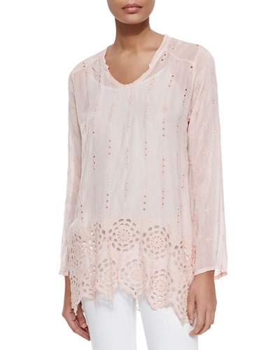 Long Eyelet Shirred Yoke Tunic