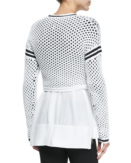 Modern Mesh Pullover with Taping Details