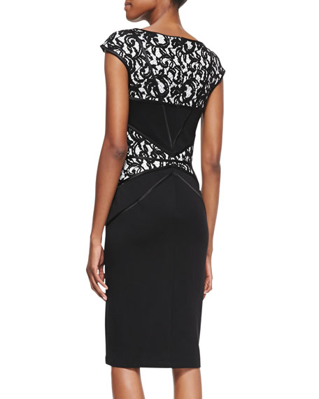 Cap-Sleeve Lace-Inset Cocktail Dress, Black/Nude
