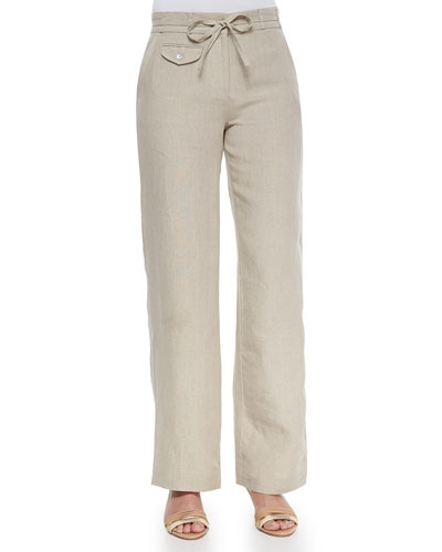 Wide-Leg Linen Pants, Women's