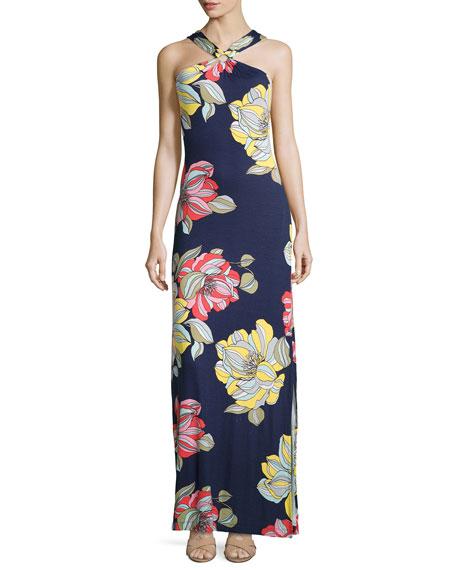 Demi Floral-Print Maxi Halter Dress