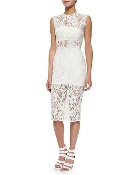 Leni Sleeveless Floral-Lace Sheath Dress, Ivory