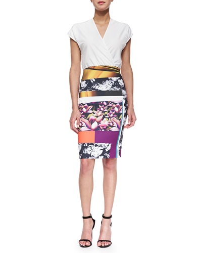 Chrome Divide Solid/Printed Combo Dress