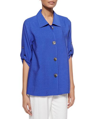 Cabo Crinkle Tab-Sleeve Shirt, Royal