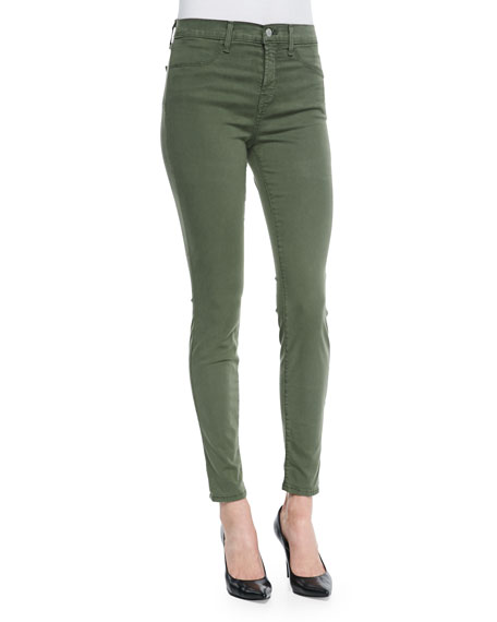 Maria High-Rise Lux Sateen Jeans, Hood Green