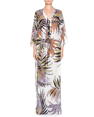 Paradise Sunrise-Print Long Caftan, White