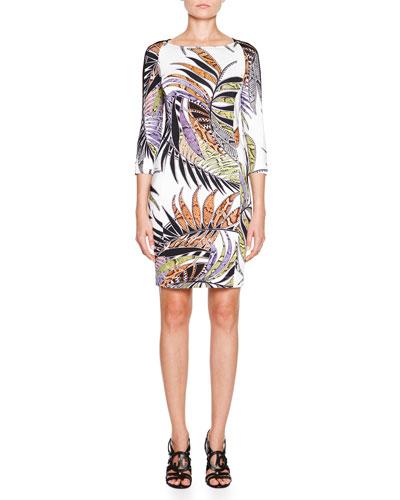Paradise Sunrise-Print Cutout-Back Dress, White
