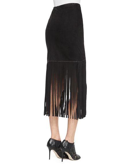 Long Fringe Wrap Skirt, Black