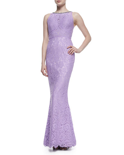 Lainey Cutaway Bead-Embellished Lace Gown, Lilac