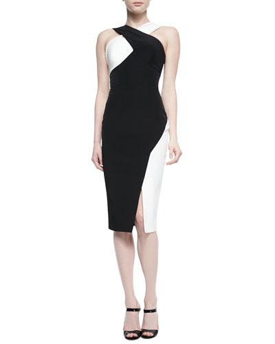 Marique Beaded Colorblock Crisscross Dress, Black/Ivory