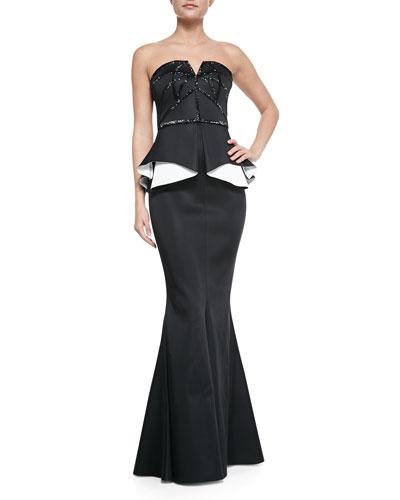 Kasia Strapless Beaded Contrast-Peplum Gown, Black/White