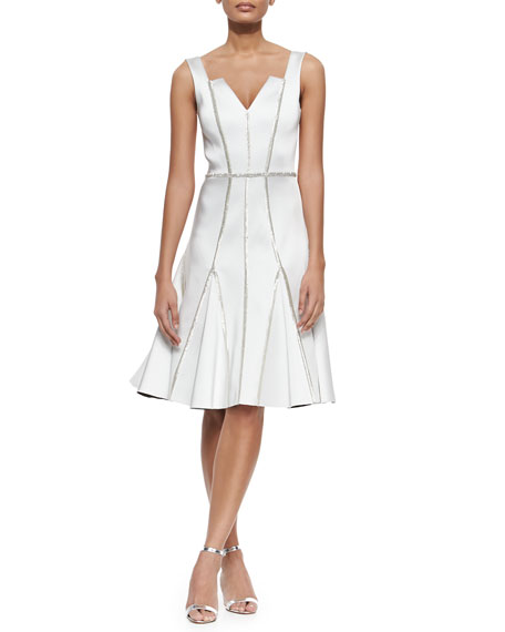Rachel Gilbert Kasia Beaded-Seam Fit-and-Flare Dress, Ivory