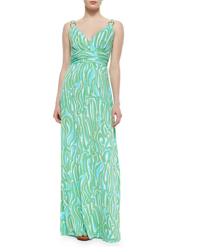 Villa Printed Empire-Waist Maxi Dress, Resort White