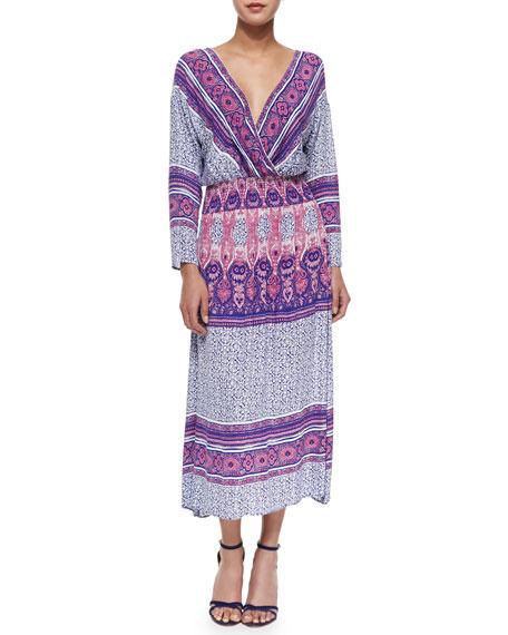Three-Quarter-Sleeve Midi Dress