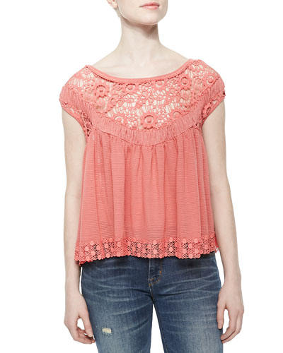 Off-the-Shoulder Top with Cutwork Embroidery