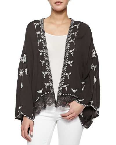 Long-Sleeve Embroidered Lace-Trimmed Cape