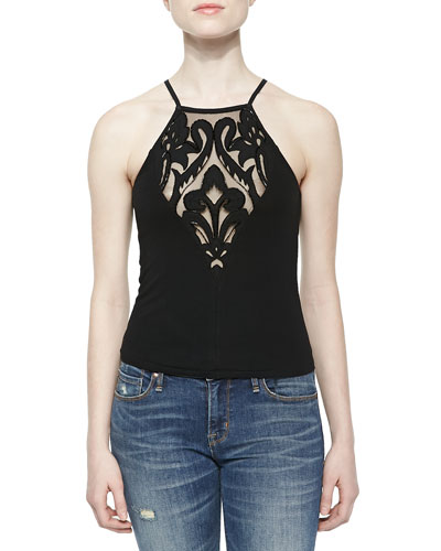 Cutout Vice Crop Top with Illusion