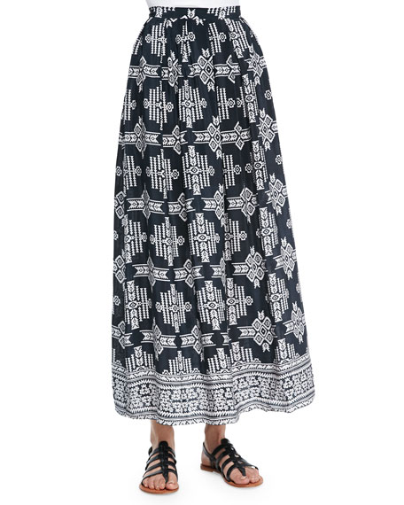 Margie Tribal-Print Maxi Skirt