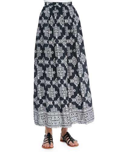 Margie Tribal-Print Maxi Skirt, Women
