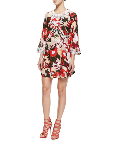Georgia Embroidered Floral-Print Dress