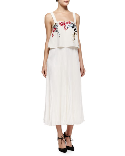 Luana Embroidered Pleated Silk Dress