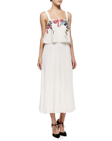 Elle Sasson Luana Embroidered Pleated Silk Dress