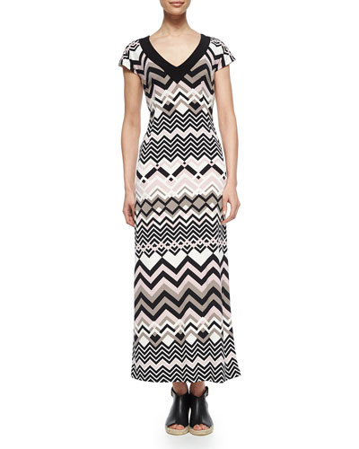 Zigzag V-Neck Maxi Dress