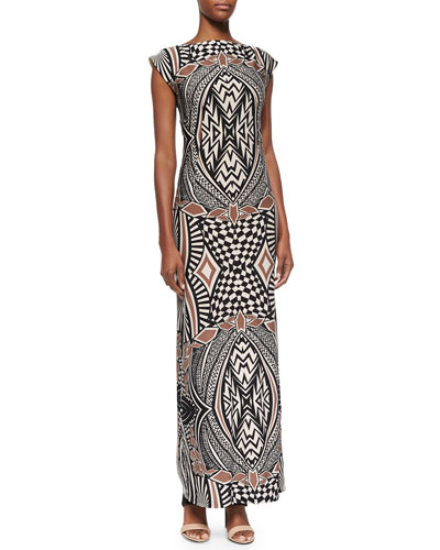 Graphic-Print Bateau-Neck Long Dress, Black Sand