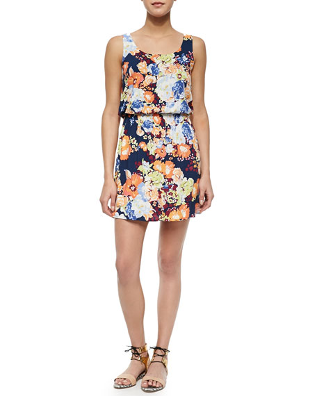 Spring Blooms Sleeveless Blouson Dress
