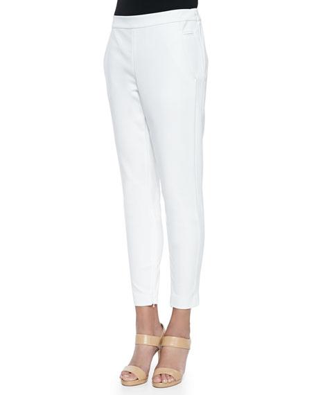 Crosby Zipper-Cuff Ankle Pants, Blanc