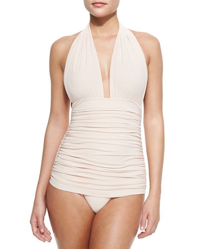 Bill Ruched Halter Maillot Swimsuit, White