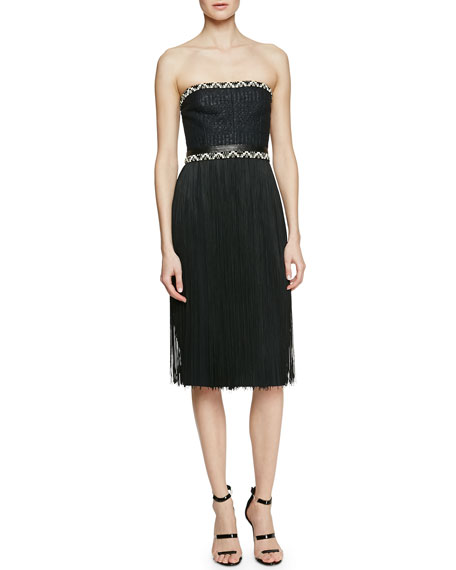 Tamara Mellon Strapless Dress with Fringe Skirt