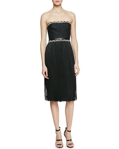 Tamara Mellon Strapless Dress with Fringe Skirt