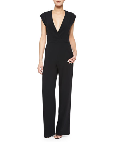 Patent Leather-Inset Cutout Kimono Jumpsuit, Black