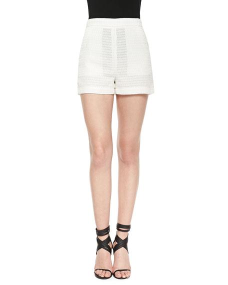 Check-Piped High-Waist Shorts, Cream